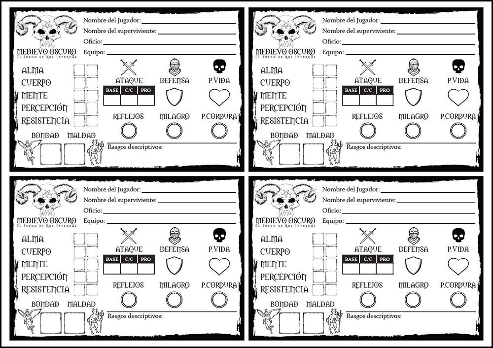 hoja del personaje nivel 0 del juego de rol medievo oscuro
