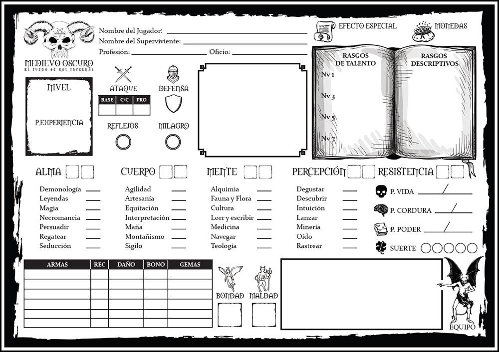 hoja del personaje superviviente de medievo oscuro juego de rol infernal